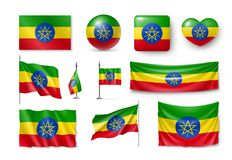 De vastgestelde vlaggen van Ethiopië, banners, banners, symbolen, realistisch pictogram Royalty-vrije Stock Foto's