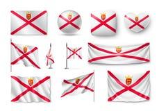 De vastgestelde vlaggen van Jersey, banners, banners, symbolen, vlak pictogram Royalty-vrije Stock Foto's