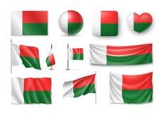 De vastgestelde vlaggen van Madagascar, banners, banners, symbolen, realistisch pictogram Stock Foto's