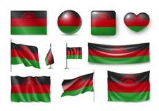 De vastgestelde vlaggen van Malawi, banners, banners, symbolen, realistisch pictogram Stock Foto