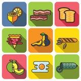 De vastgestelde vlakke stijl van het voedselpictogram Stock Afbeeldingen