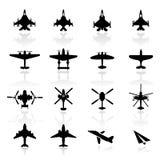 De vastgestelde Vliegtuigen van het pictogram Royalty-vrije Stock Fotografie