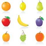 De vastgestelde Vruchten van het pictogram Royalty-vrije Stock Afbeelding