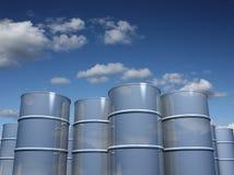 De vaten van het staal met hemelachtergrond Stock Foto