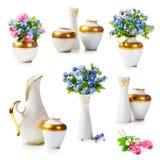 De vazen en vergeten me niet bloemen royalty-vrije stock afbeelding