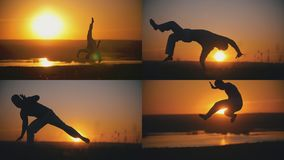 De vechter is bezig geweest met capoeira op de achtergrond van een oranje zonsondergang - 4 in 1 Royalty-vrije Stock Afbeeldingen