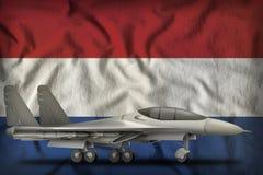De vechter, interceptor op Nederland verklaart vlagachtergrond 3D Illustratie vector illustratie
