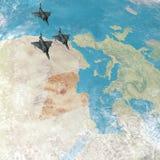 De vechter spuit vliegend over Libië, 3d kaart van Noord-Afrika en Europa vector illustratie