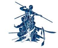De vechter van groeps Mensen Kung Fu, Vechtsporten met grafische het beeldverhaal van de wapensactie vector illustratie