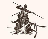 De vechter van groeps Mensen Kung Fu, Vechtsporten met grafische het beeldverhaal van de wapensactie royalty-vrije illustratie