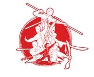 De vechter van groeps Mensen Kung Fu, Vechtsporten met grafische het beeldverhaal van de wapensactie stock illustratie