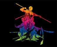 De vechter van groeps Mensen Kung Fu, Vechtsporten met het beeldverhaal van de wapensactie stock illustratie