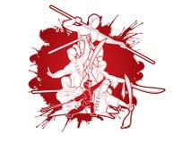 De vechter van groeps Mensen Kung Fu, Vechtsporten met het beeldverhaal van de wapensactie royalty-vrije illustratie