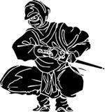 De vechter van Ninja - vectorillustratie. Vinyl-klaar. stock illustratie