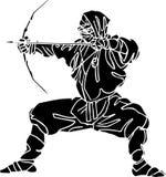 De vechter van Ninja - vectorillustratie. Vinyl-klaar. Stock Afbeeldingen
