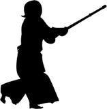 De vechters#3 silhouet van Kendo Stock Afbeelding