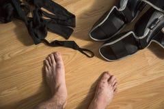De vechters` s voeten van Muay Thaise Kickboxing met materiaal Royalty-vrije Stock Afbeeldingen