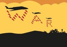 De vechtersvliegtuigen laten vallen Bommen in de vorming van de Oorlogstekst Het art. van de Editableklem Royalty-vrije Stock Afbeelding
