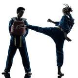 De vechtsportenman van karatevietvodao het silhouet van het vrouwenpaar Stock Foto's