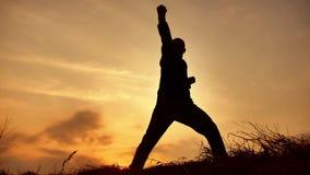De vechtsportenmonnik van de mensenstrijder het praktizeren de kungfu van de silhouetkarate op de grasrijke horizon bij zonsonder stock videobeelden