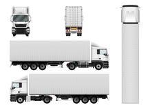 De vecteur calibre de camion semi avec le récipient de cargaison Remorque i de camion Images libres de droits