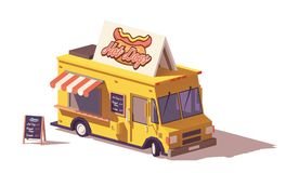 De vecteur poly camion de nourriture de hot-dog bas Illustration Stock