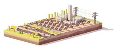 De vecteur poly infrastructure solaire de centrale bas illustration de vecteur