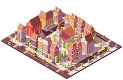 De vecteur poly vieux centre de la ville isométrique bas illustration libre de droits