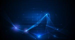 De vector abstracte achtergrond met netwerklijnen en helder schittert Royalty-vrije Stock Afbeeldingen