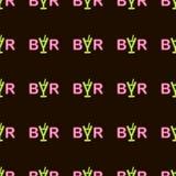 De vector abstracte bar van de neon heldere gloeiende opvlammende tekst op zwart naadloos patroon als achtergrond royalty-vrije illustratie