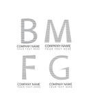 De vector abstracte de brievenpictogrammen van m, van B, van F en g-, zaken logotype plaatsen, de symbolen van het bedrijfembleem Stock Foto's