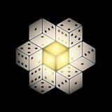 De vector Abstracte Samenstelling met het Gokken dobbelt op Zwarte Achtergrond royalty-vrije illustratie
