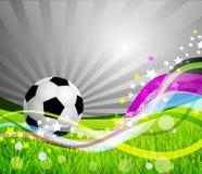 De vector achtergrond van de Bal van het Voetbal, gras stock illustratie