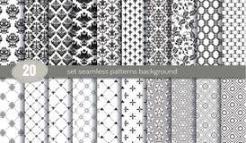 De vector achtergrond van het damast naadloze patroon patroonmonsters inbegrepen voor illustratorgebruiker Stock Fotografie