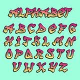 De vector alfabetische doopvont ABC van alfabetgraffity door borstelslag met letters en getallen of grunge alfabetische typografi Royalty-vrije Stock Fotografie