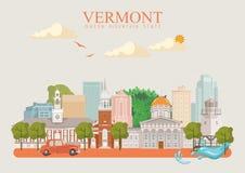 De vector Amerikaanse affiche van Vermont De reisillustratie van de V.S. De kaart van de Verenigde Staten van Amerika met gebouwe Royalty-vrije Stock Foto