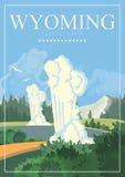 De vector Amerikaanse affiche van Wyoming De reisillustratie van de V.S. Kleurrijke de groetkaart van de Verenigde Staten van Ame royalty-vrije illustratie
