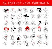 De vector artistieke hand getrokken modieuze jonge die reeks van het dameportret op witte achtergrond wordt geïsoleerd royalty-vrije illustratie