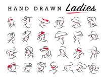 De vector artistieke hand getrokken modieuze jonge die reeks van het dameportret op witte achtergrond wordt geïsoleerd vector illustratie