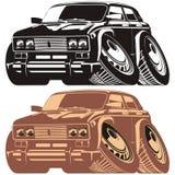 De vector auto van het silhouetbeeldverhaal royalty-vrije illustratie