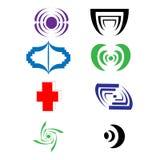 De vector bedrijfs en technologie logotype geplaatste pictogrammen, vatten collectieve emblemen samen Royalty-vrije Stock Afbeeldingen