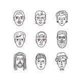 De vector bemant gezichten, Krabbelportretten van mensen Grappige avatars Inzameling van hand-drawn in hipstermensen Kleurend boe stock illustratie