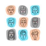 De vector bemant gezichten, Krabbelportretten van mensen Grappige krabbelavatars Inzameling van hand-drawn in hipstermensen stock illustratie
