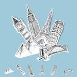 De vector Bestemmingen van de Reis van de Sticker stock illustratie