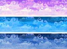 De vector bewolkte banners van het hemelweer Stock Afbeelding