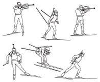 De vector biathlon plaatste stock illustratie