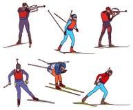 De vector biathlon plaatste royalty-vrije illustratie