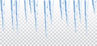 De vector blauwe bevroren geïsoleerde ijskegel naadloze grens transparen stock illustratie