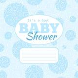 De vector blauwe de partijuitnodiging van de babydouche (babyjongen) met doodled swirles en lege ruimte voor tekst Royalty-vrije Stock Foto's