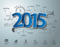 De vector blauwe markeringen etiketteren de tekstontwerp van 2015 op creatief tekenings bedrijfssucces Stock Fotografie